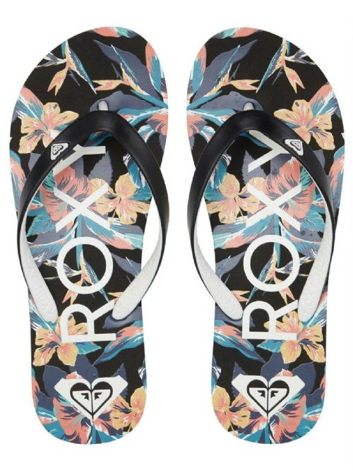 ROXY WOMENS FLIP FLOPS.NEW TAHITI BLACK FLOWERED THONGS BEACH SURF SANDALS S20 9